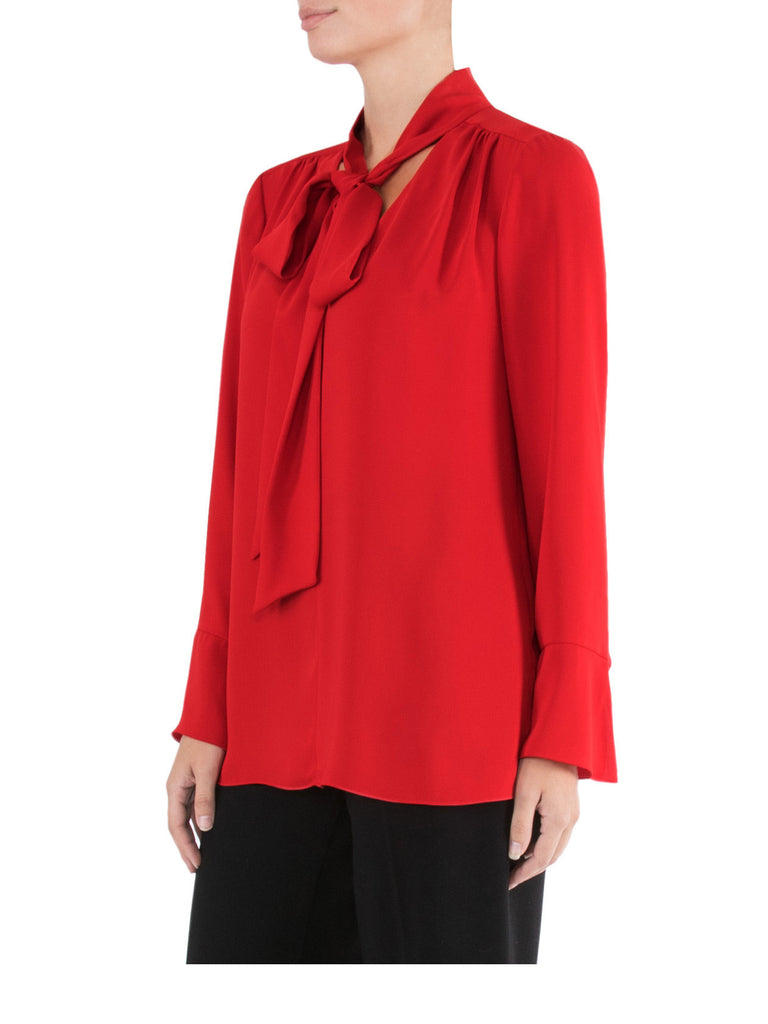 Vivid Red Tie Front Top