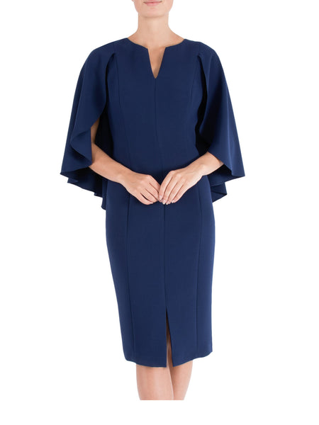 Navy Crepe Shift Dress