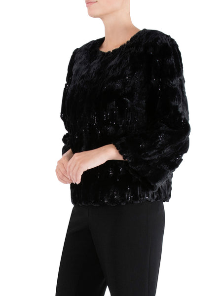 Black Sequin Faux Fur Jacket