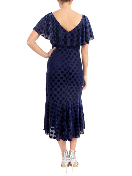 Sapphire Burnout Spot Velour Dress