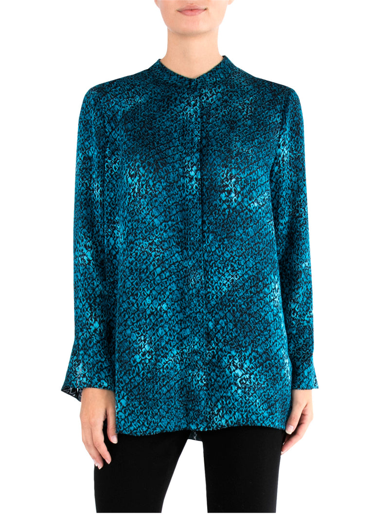 Teal Burnout Print Shirt
