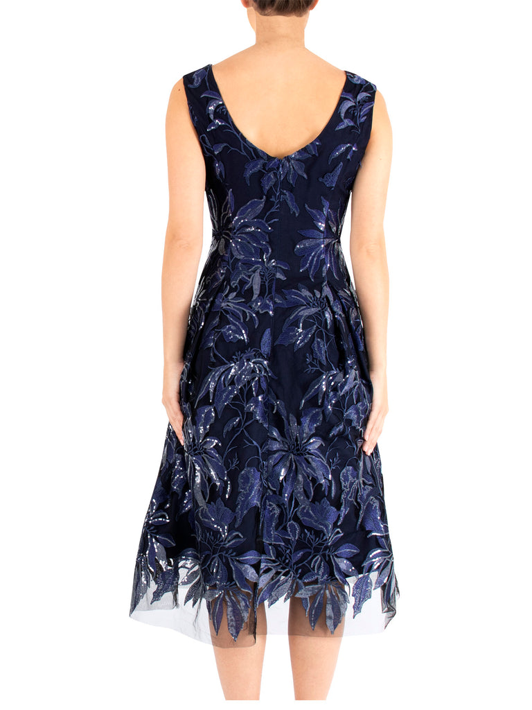 Blue Pearl Embroidered Lace Dress