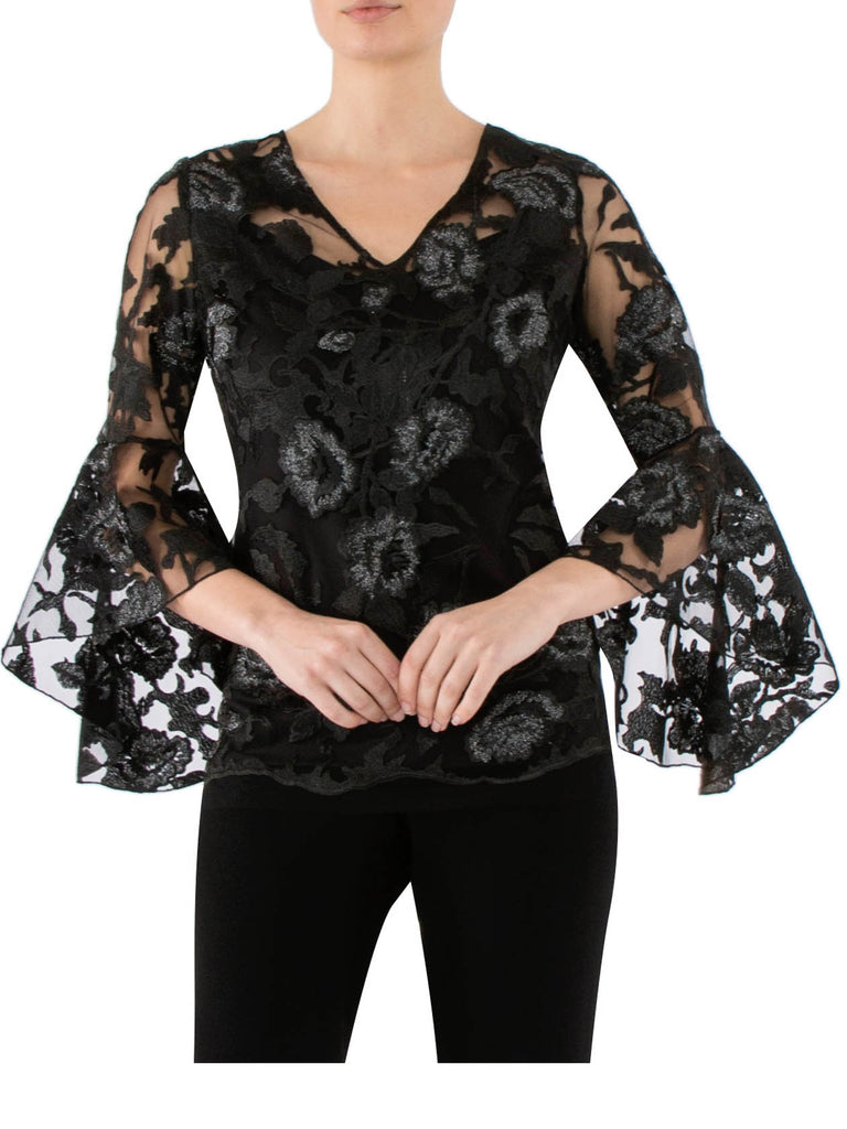 Black & Silver Bell Sleeve Top