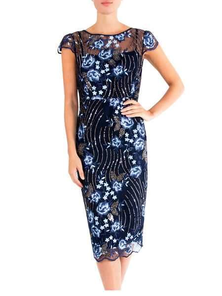 Navy Jewel Sequin Dress