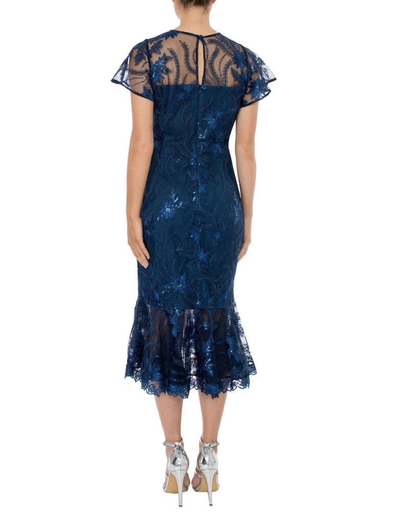 French Blue Sequin Mesh Dress