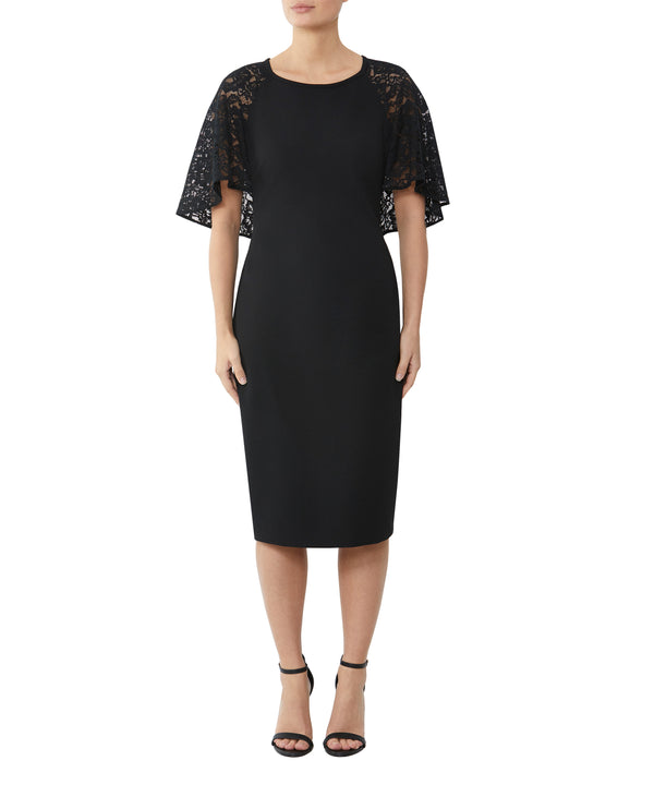 Black Crepe & Lace Dress