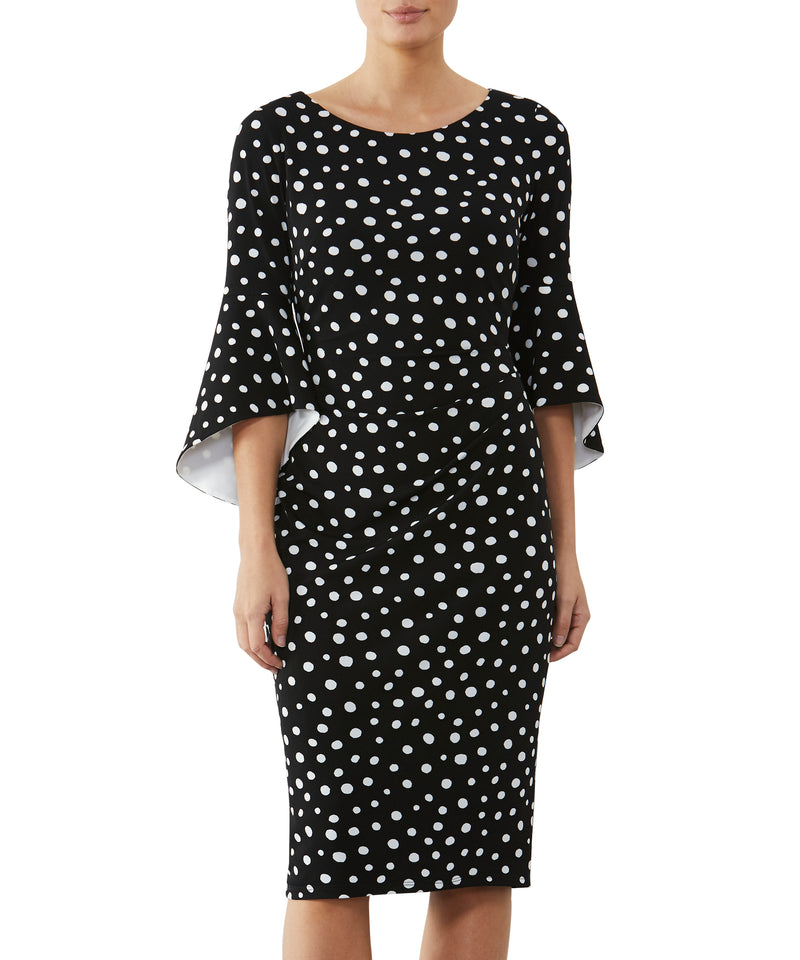 Spot Flared Sleeve Jersey Dress