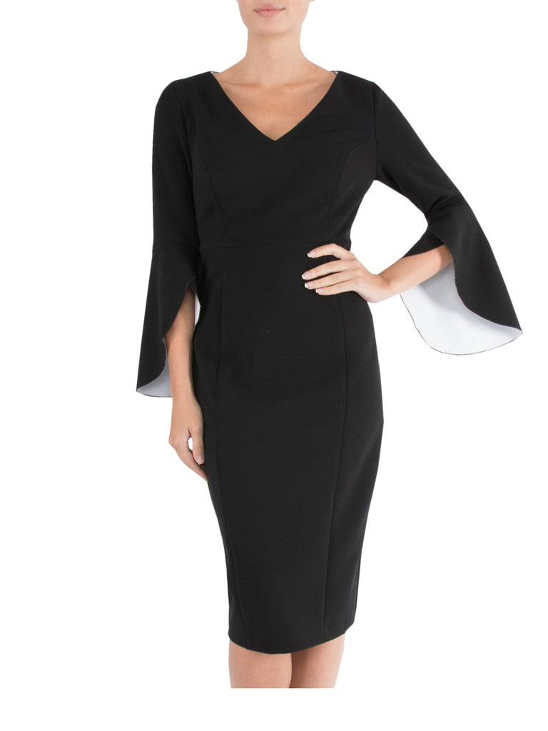 Black & Ivory Bell Sleeve Dress