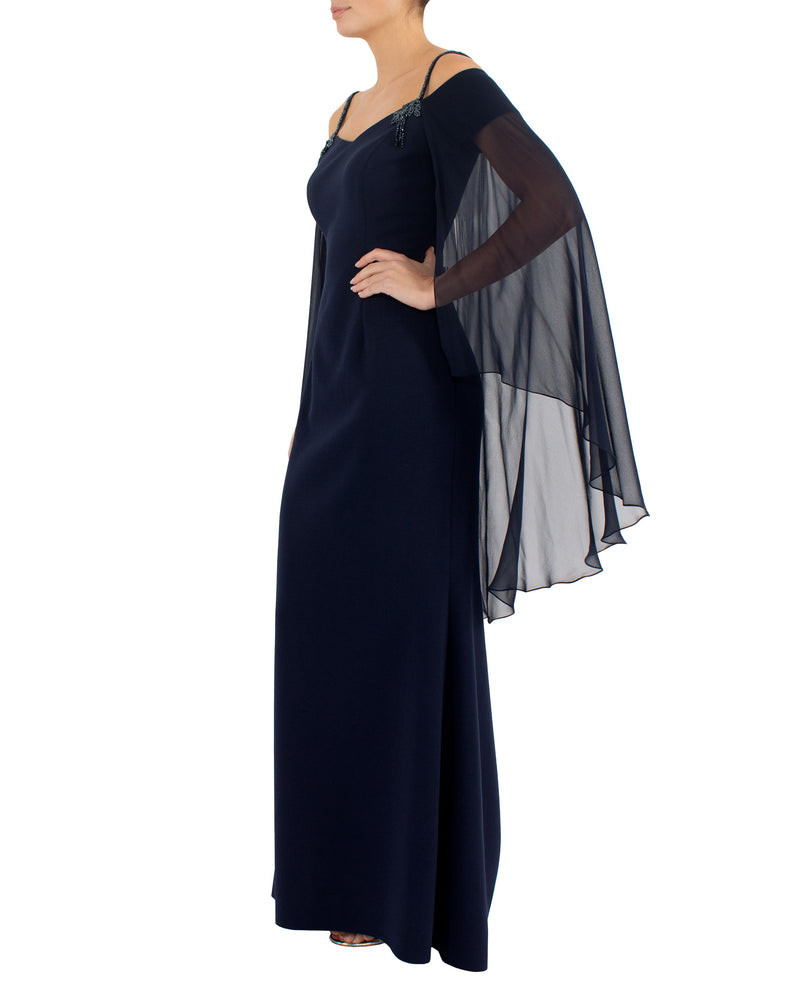 Navy Shawl Gown