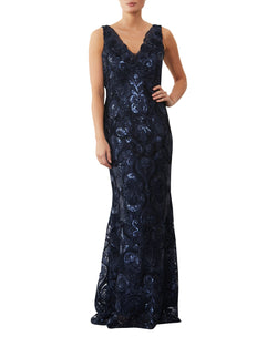 Nightshade Embroidered Mesh Gown