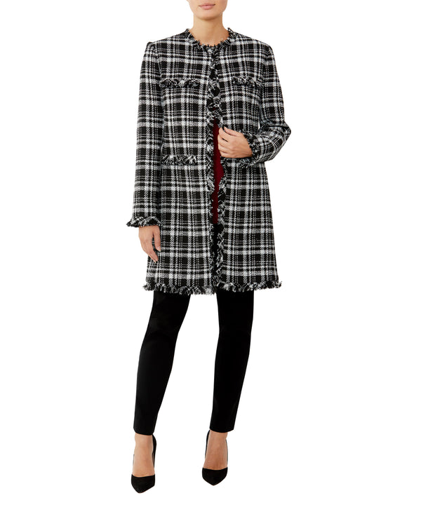 Check Fringe Tweed Coat