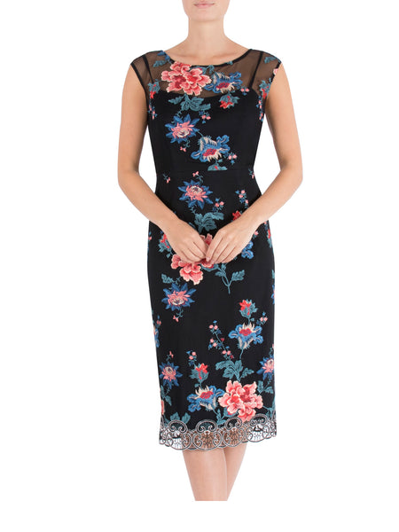 Peony Embroidered Shift Dress
