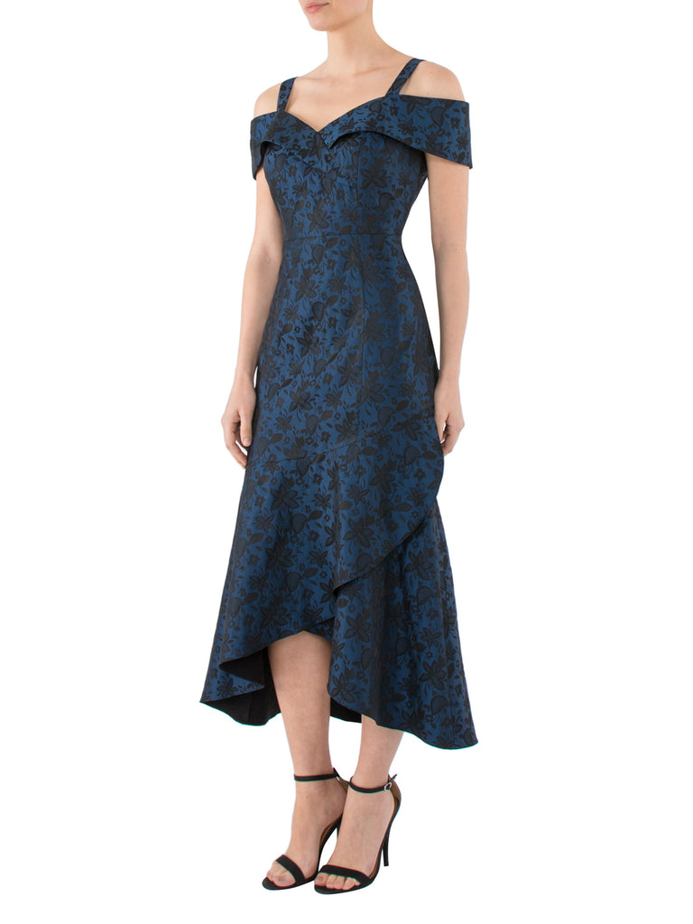 Blue & Black Jacquard Dress
