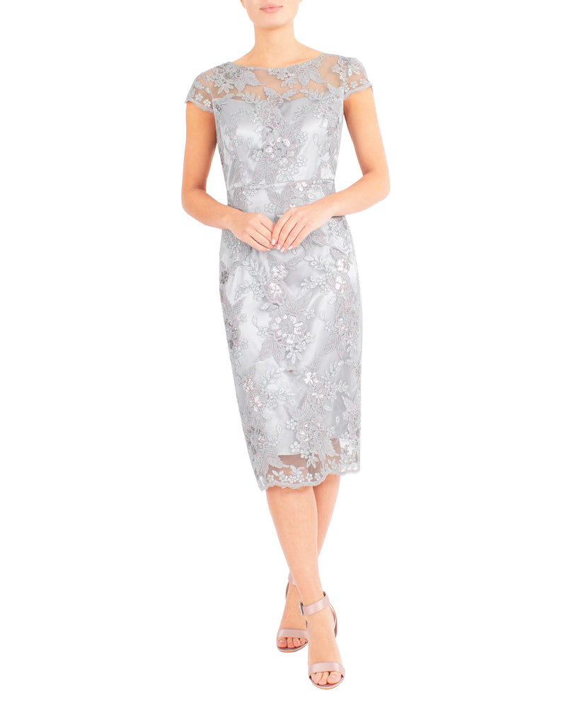 Pearl Rose Embroidered Shift Dress