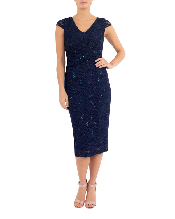 Navy Sequin Lace Dress