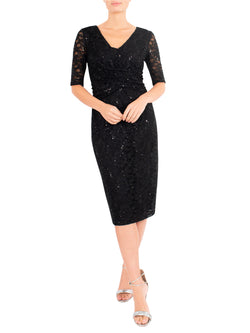 Black Crossover Sequin Lace Dress