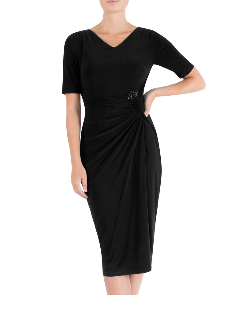 Black Draped Jersey Dress