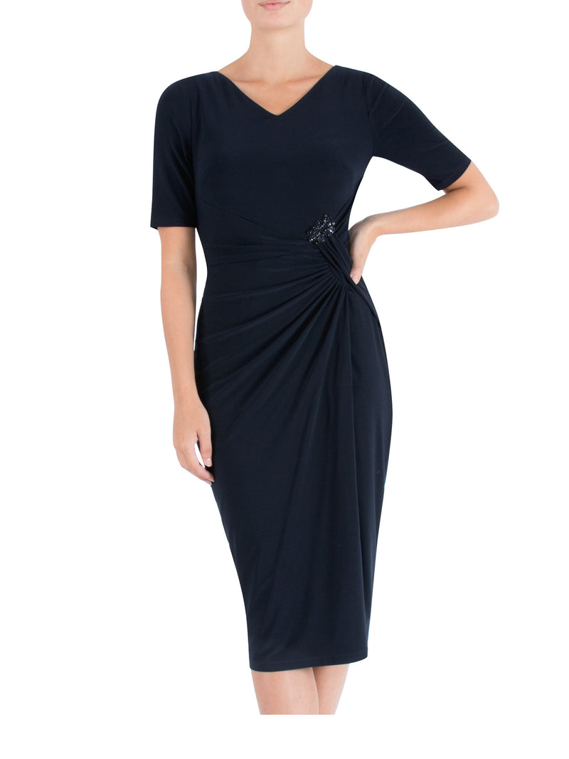 Ink Draped Jersey Dress