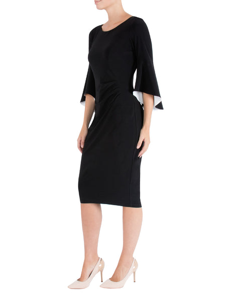 Black Flared Sleeve Jersey Dress