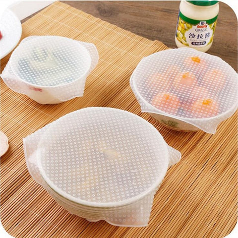 4Pcs Reusable Silicone Wrap Seal
