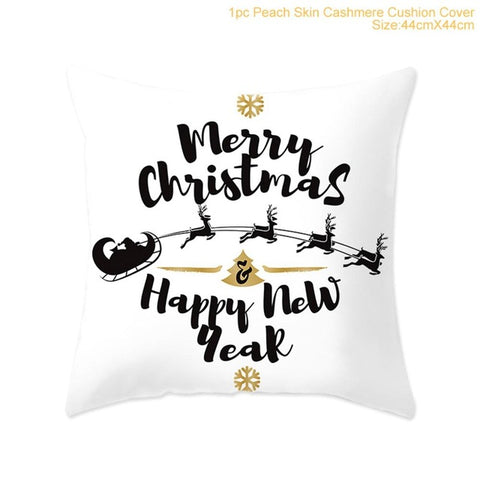 Cotton Linen Merry Christmas Cushion Cover 45x45cm