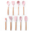 Image of Silicone Cooking Utensils Set Non-stick Spatula Shovel Wooden Handle Cooking Tools Set With Storage Box
