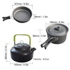 Image of 1 Set Outdoor Pots Pans Camping Cookware With Foldable Spoon Fork Knife Kettle Cup