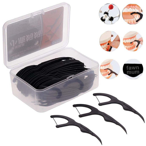 Bamboo Charcoal Black Dental Floss Teeth Stick 50pcs/Box