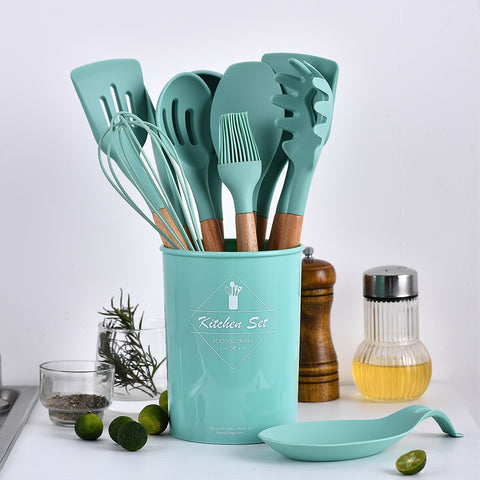Silicone Cooking Utensils Set Non-stick Spatula Shovel Wooden Handle Cooking Tools Set With Storage Box