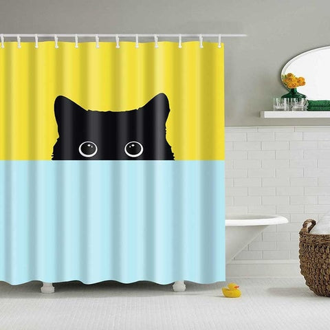 Cute Cat 3D Printed Shower Curtain Cartoon Animal Polyester Fabric