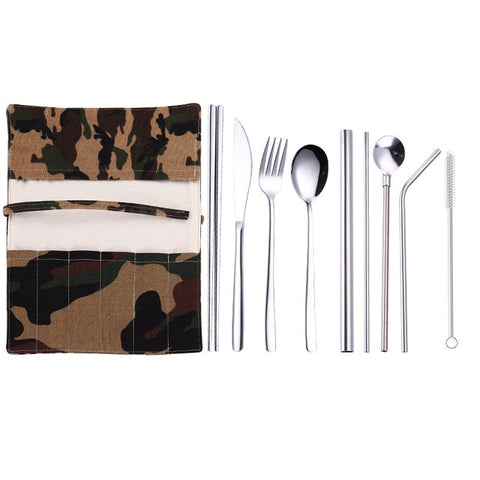 Stainless SteelTravel Dinnerware Set Spoon Fork Chopsticks Straw With Cloth Pack