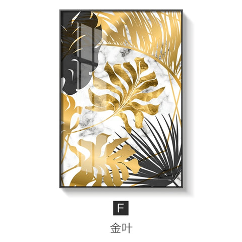 Nordic Plants Golden leaf canvas painting posters