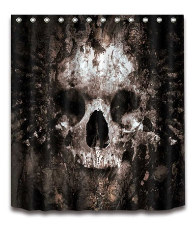 Scary Rusty Rotten Skull Shower Curtain and Bath Mat Set