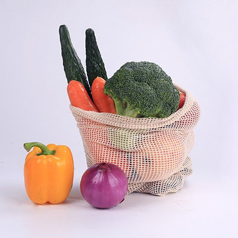 Reusable Vegetable Cotton Fruit Bag With Drawstring  1PC