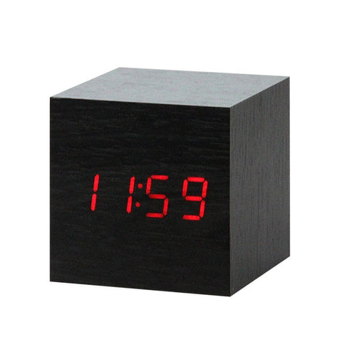 LED Wooden Alarm Clock Watch Voice Control