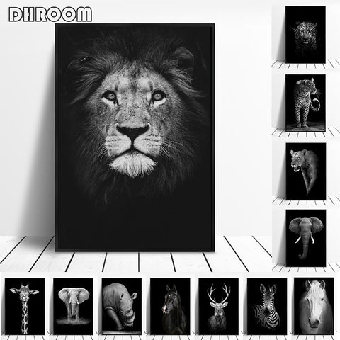 Canvas Painting Animal Wall Art Lion Elephant Deer Zebra Posters