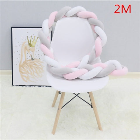 Baby Bumper Bed Braid Knot Pillow Cushion for Infant 1M/2M/3M
