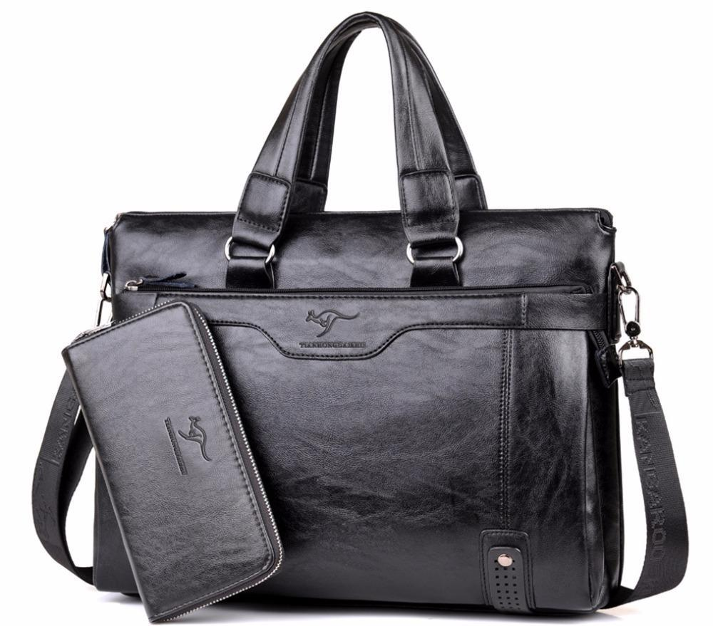 Leather Brief Case Shoulder Bag For Men