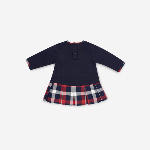 NAVY BLUE & TARTAN JERSEY DRESS