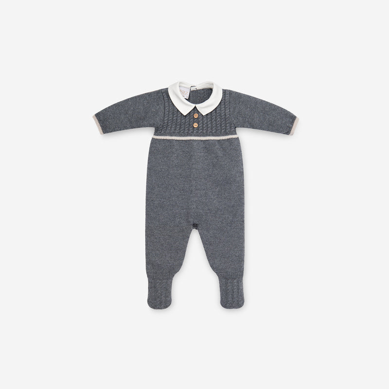 GREY MERINO KNITTED BABYGROW