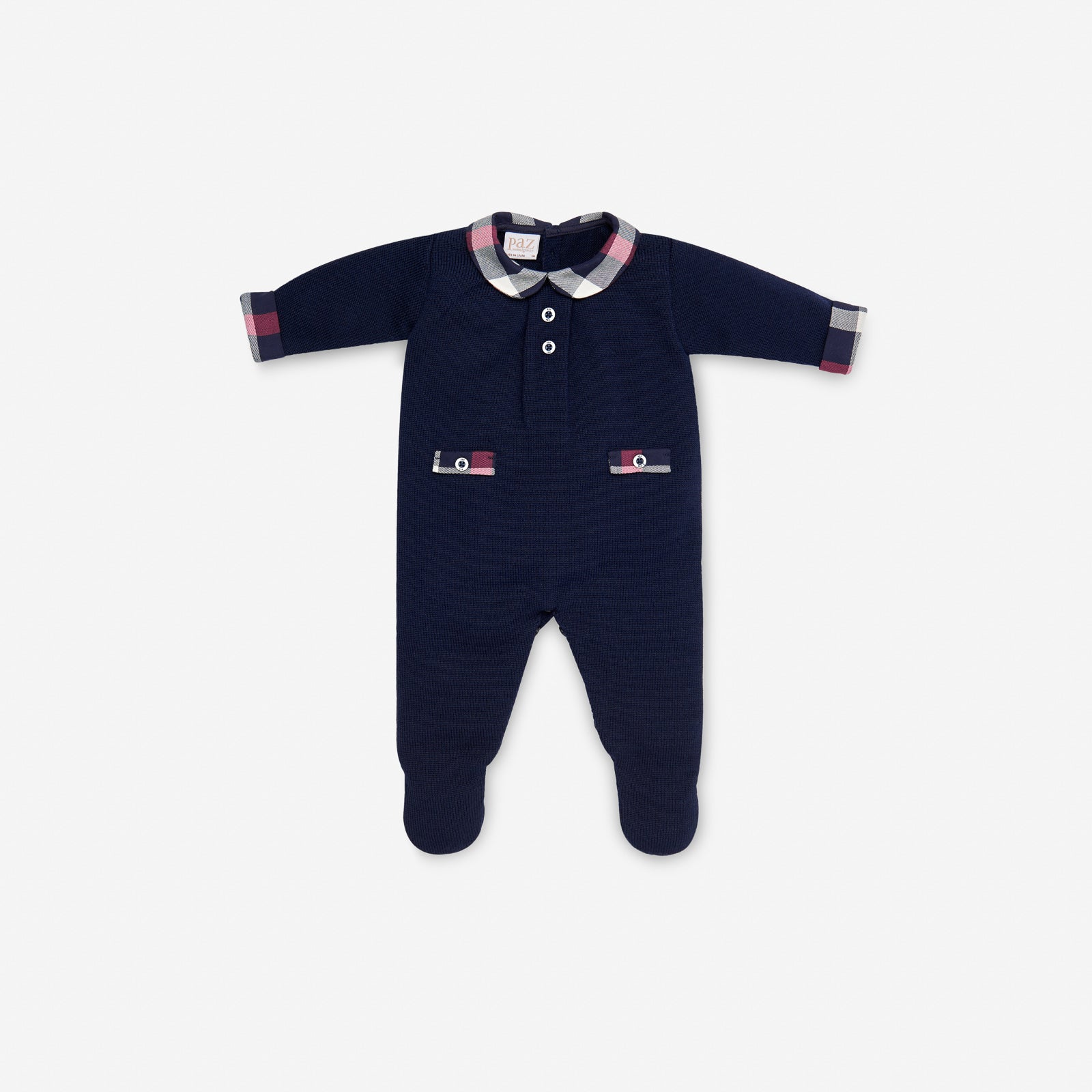 KNITTED NAVY BLUE BABYGROW WITH TARTAN COLLAR