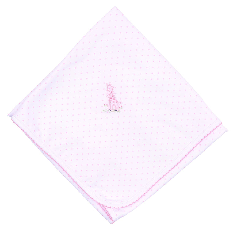 VINTAGE GIRAFFE - EMBROIDERED BLANKET (PINK)