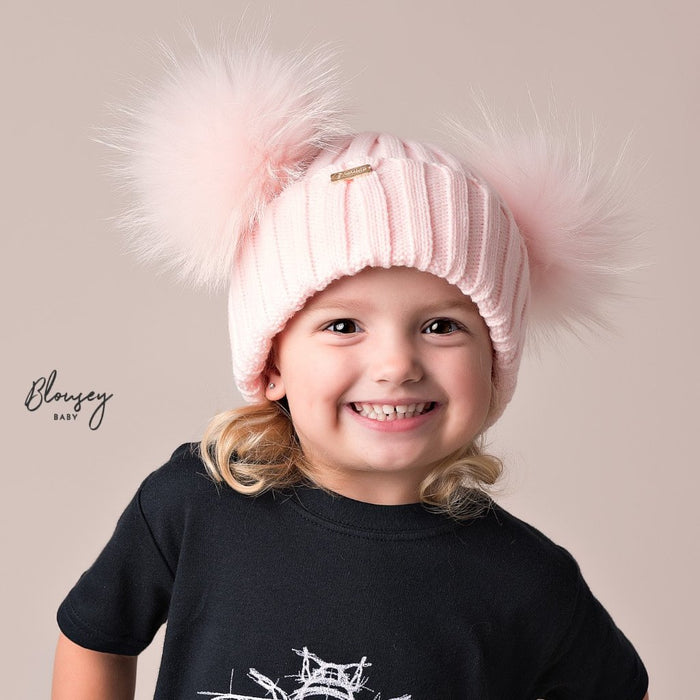 PALE PINK DOUBLE POM POM HAT