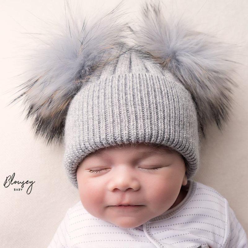 GREY ANGORA DOUBLE POM POM HAT