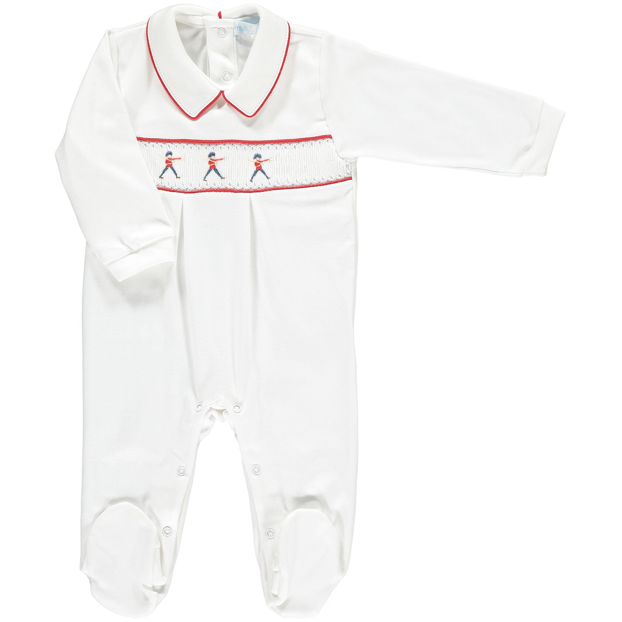 TOY SOLDIER SMOCKED BABY GROW
