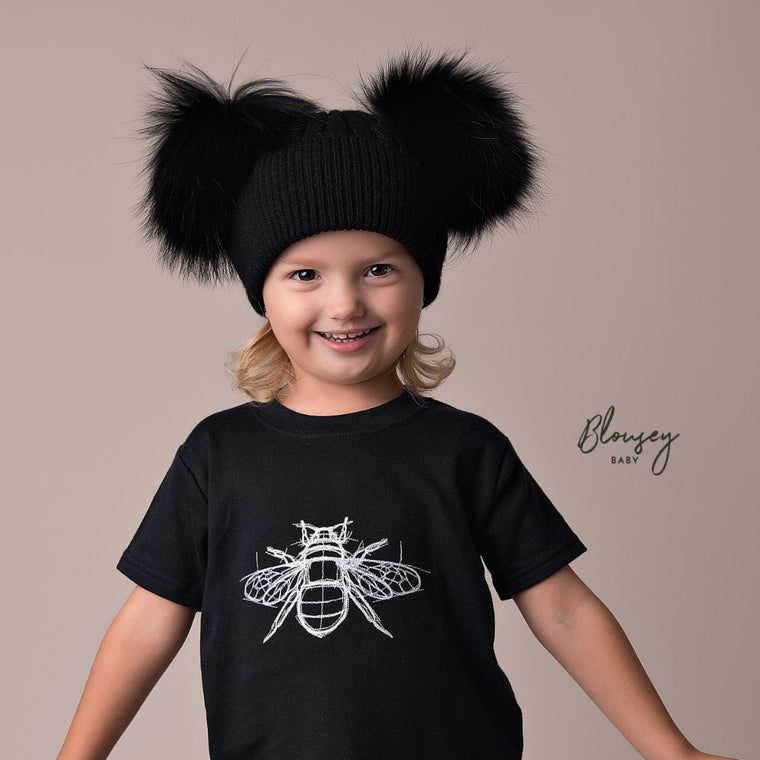 BLACK ANGORA DOUBLE POM POM HAT