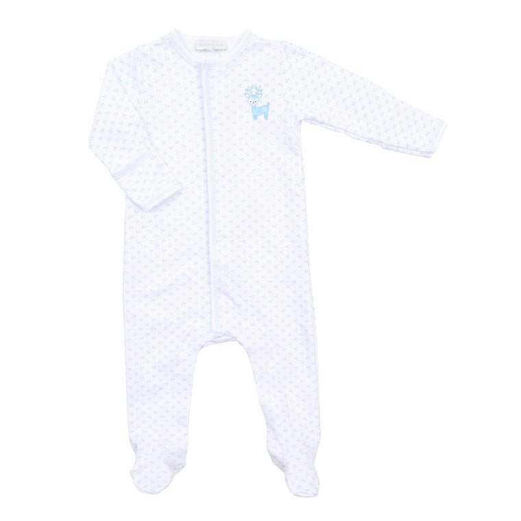 BOYS EMBROIDERED OH DEER RUFFLE BABYGROW
