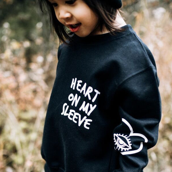 HEART ON MY SLEEVE SWEATSHIRT - BLACK