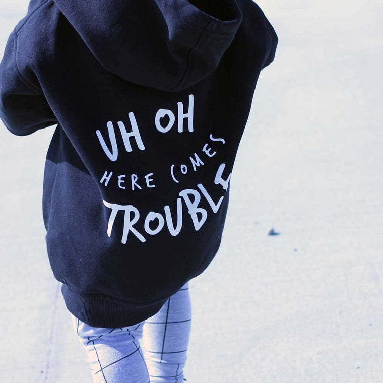UH OH HERE COMES TROUBLE ZIPPED HOODIE - NAVY