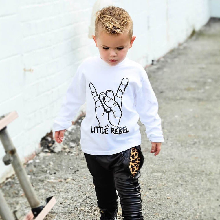 LITTLE REBEL T SHIRT - WHITE LONG SLEEVE